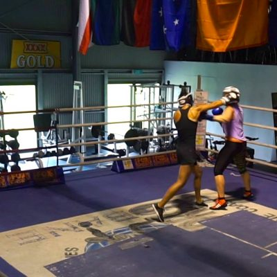 That's me in black. I love boxing and train regularly with my sparring buddy
