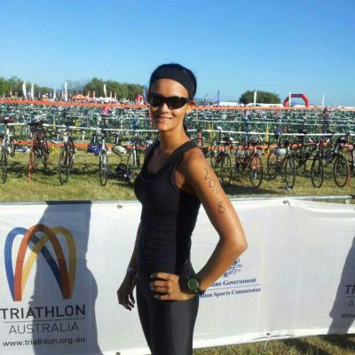 Ready to rock for the cycle leg of the Nissan Corporate Triathlon Gold Coast.