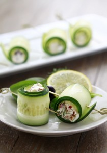 Cucumber Feta Rolls: Slice cucumber and fill with feta or ricotta ...
