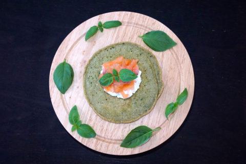 Basil Oat Pancakes with Salmon